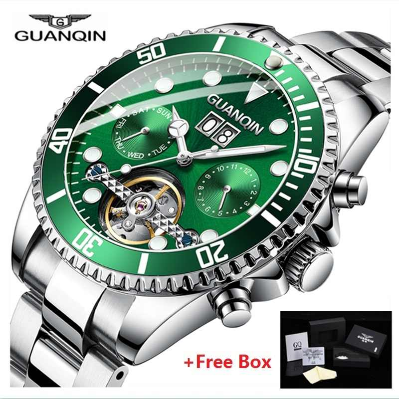 9e41281d9df1 2019 GUANQIN reloj automático hombres Mecánico Tourbillon Esqueleto reloj  resistente al agua reloj automático reloj hombre