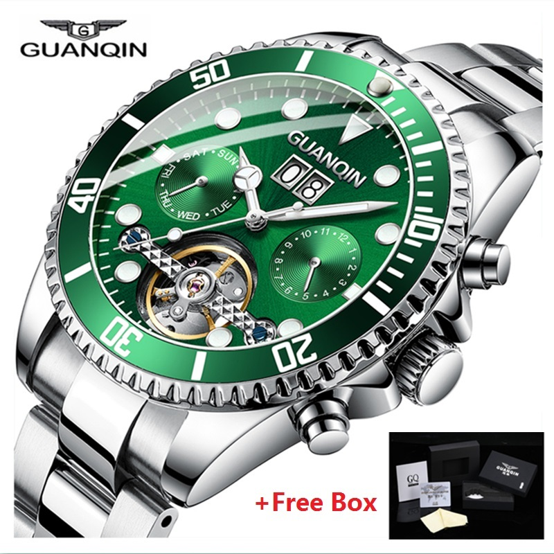 GUANQIN automatic watch mens mechanical Skeleton Tourbillon Luxury Waterproof Watch Stainless Steel Men Clock relogio masculino-in Mechanical Watches from Watches    1