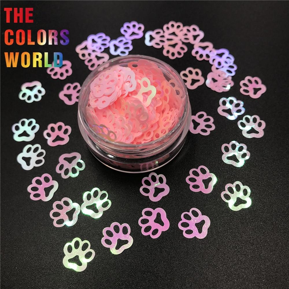 tct 305 copia da pata de cachorro forma perolado iridescente prego glitter nail art decoracao glitter