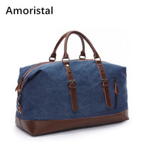 Fashion Canvas Leather Men Travel Bags Carry on Luggage Bags Casual Men Duffel Bag Travel Tote Large Weekend Functional Bag E002