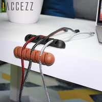 !ACCEZZ USB Cable Organizer Wire Winder Earphone Holder Cord Clip Office Desktop Phone Cables Silicone Tie Fixer Wire Management 1