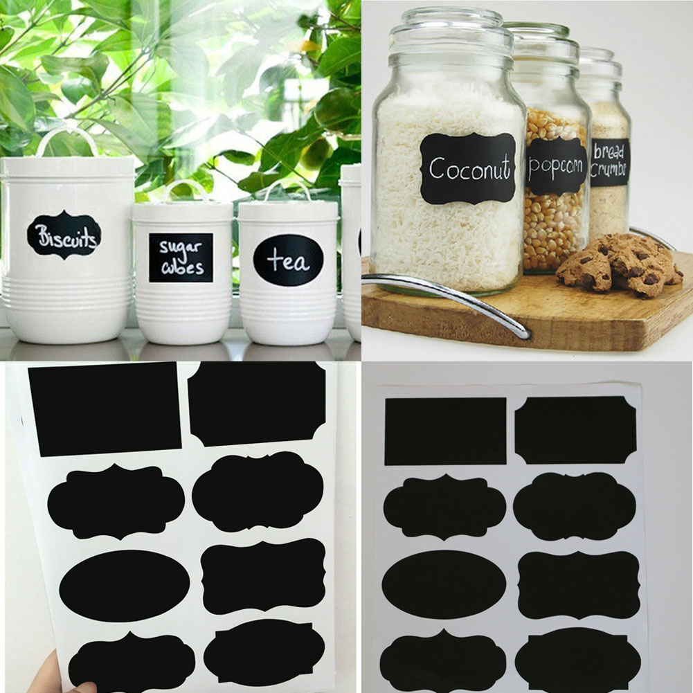 40Pcs/Set PVC Blackboard Sticker Kitchen Craft Stickers for Jar Organizer Can Labels Chalkboard Home Decor
