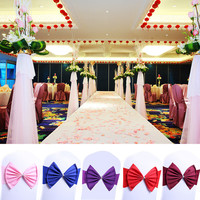 Wholesale 10PCS Wedding Party Chair Cover Bow Band Sashes With Buckle Bow Spandex Stretch Banquet Event