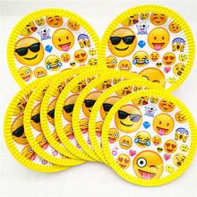 10pcs/set Emoji Party Supplies Paper Plates Disposable Tableware Birthday Festival Party Favors Decoration Cake dishes Plate a set friction plates paper based plate