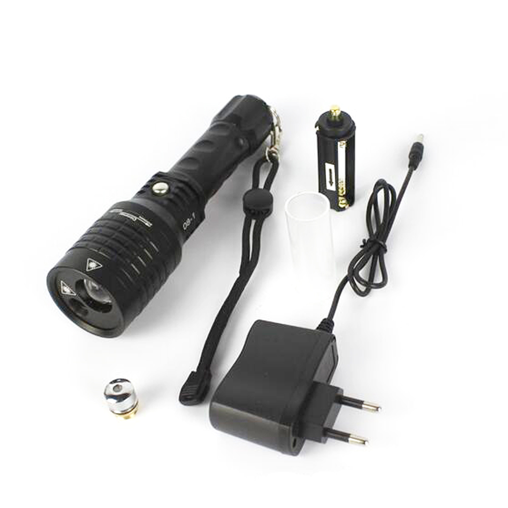 Boruit 08-1 800lm Cool White Light+ Green Laser Light Zooming LED Flashlight with Sky Star II (1x18650/3xAAA)