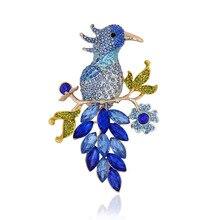 Azul Del Esmalte Crystal Rhinestone Broche de Aves Animales Clip de La Bufanda Mujeres Accesorios de Joyería de Moda de Regalo de Prendas de vestir