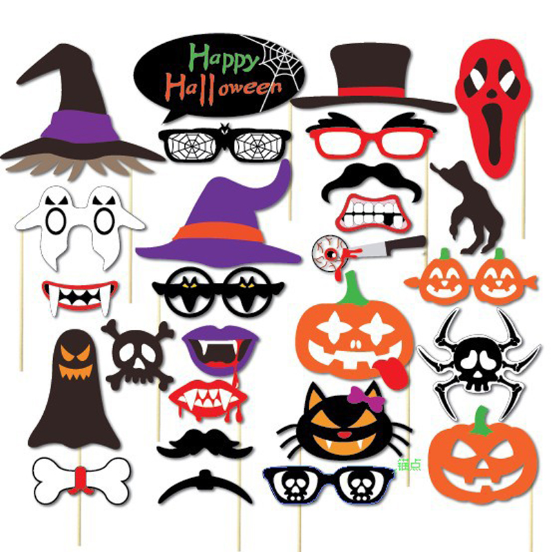 27PCS Halloween Decoration Photo Booth Props Mascara Mask For Kids Men Photobooth Witch Bats Party Accessories