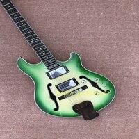 costom shop .wholesale and retail Big John. green hollow electric guitar+foam box F 1730.support customization. guitarra,