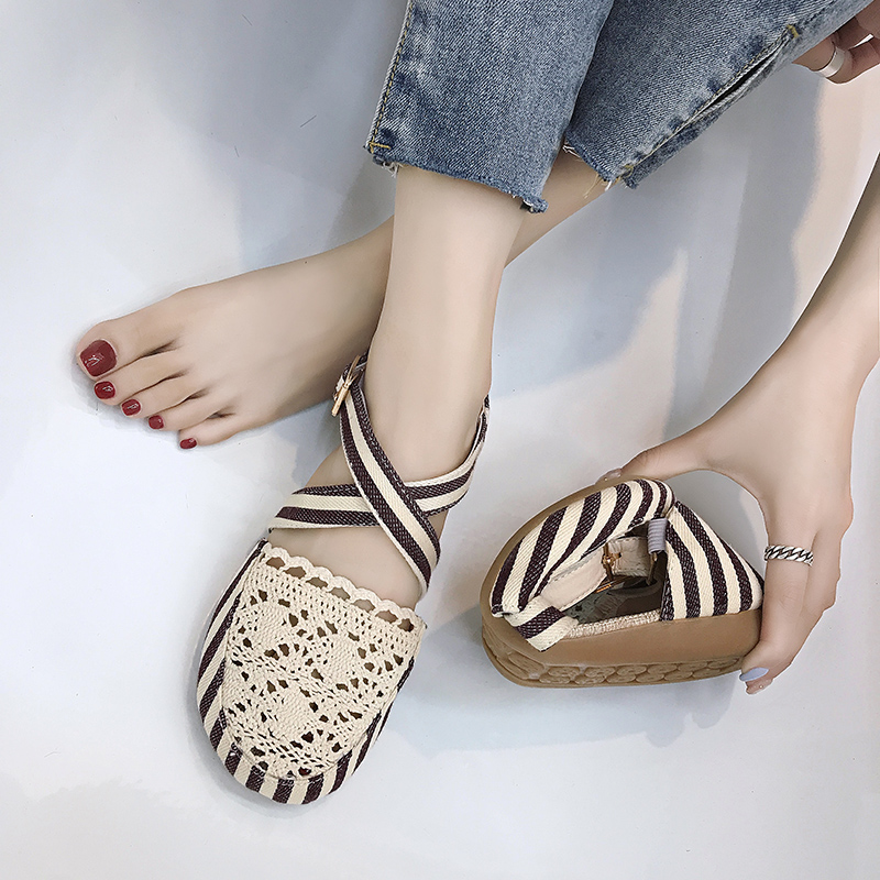 Women Sandas 2018 Summer Embroidered Womens Shoes Flat Sandals Shoes Straw Braid Color Comfortable High-heeled woven design straw flat sandals