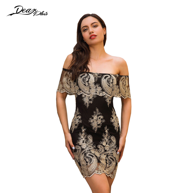 2ac670f4a4 Sexy Slash Neck Strapless Floral Embroidery Bodycon Dress Women Slim Casual Party  Dresses Tight Prom Celebrity Mini Dress Robe. 1 order