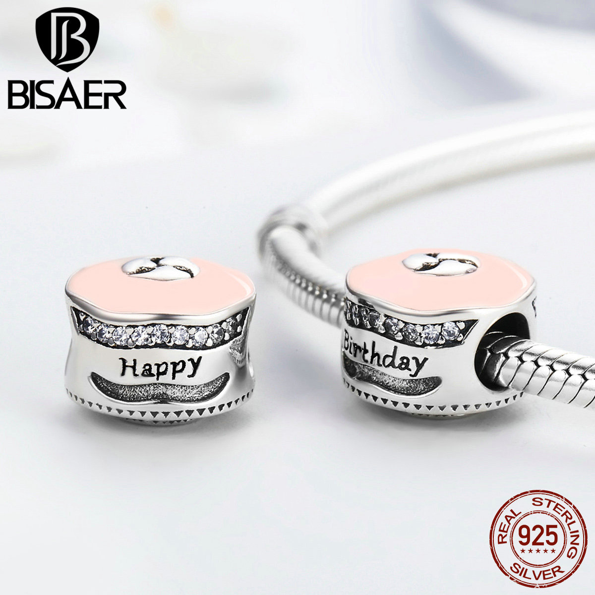 Genuine 925 Sterling Silver Happy Birthday Cake Mixed Enamel
