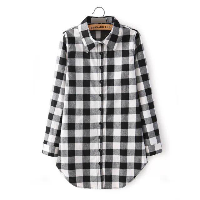 Hot Sale Women Blouses Long Shirts Single Breasted Plaid Cotton Shirt Wild Casual Streetwear Shirt Women Plus Size Blouse BE66