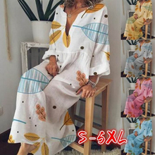 New Arrival Bohemia Printed Dress Deep V Neck Long Sleeve Loose Casual for Women Plus Size