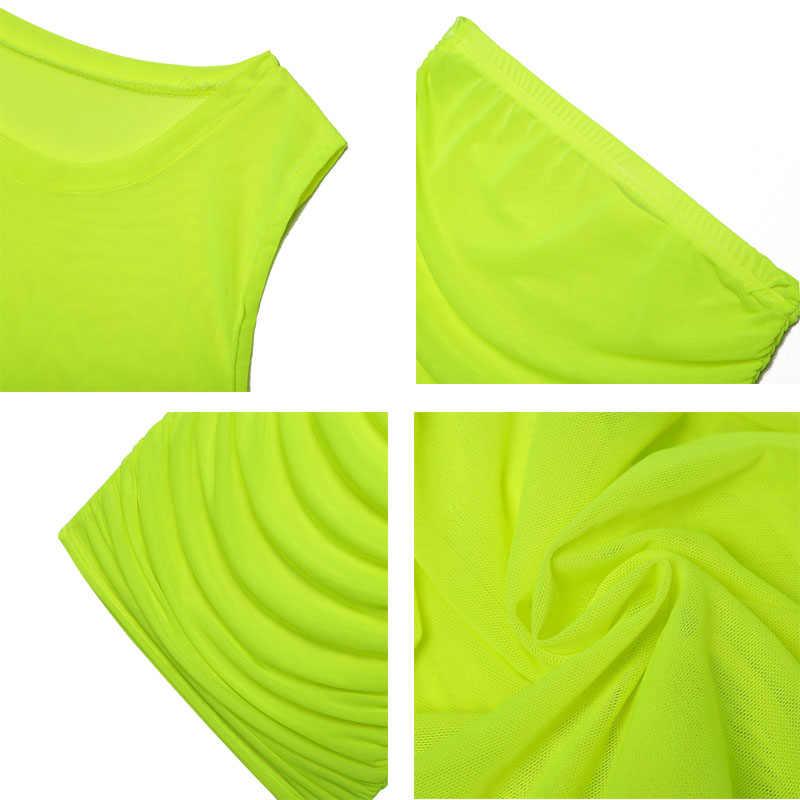 Simenual メッシュセクシーな透明なクラブウェアセットファムカジュアルファッション衣装夏スキニー固体基本 2 個セット 2019 パーティーファッション