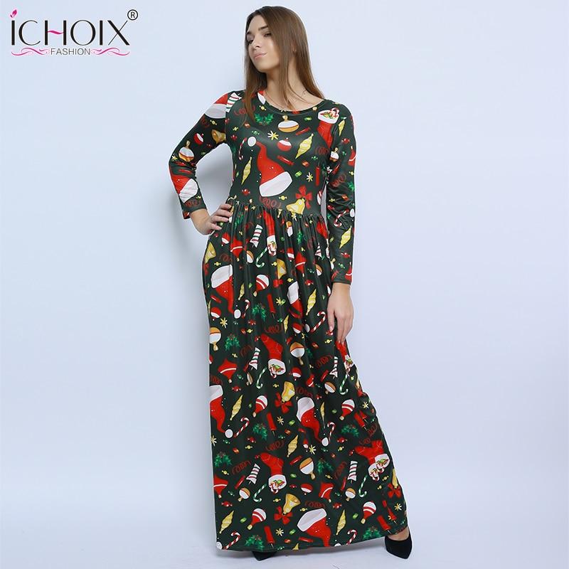 Maxi plus size dress long Autumn Winter dess 2017 women Wrist Sleeve vintage flowers Casual print long dress blue red 2017