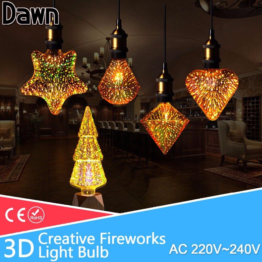 Led light bulb 3D Star LED Edison Bulb E27 220v A60 ST64 Star/Heart/Diamond lampada for christmas home party decoration lampara led star ca 410