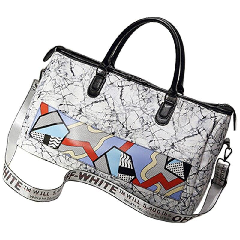 Large Travel Handbag Waterproof Pu Leather Hit Color Women Bag Men Women Shoulder Crossbody Bags