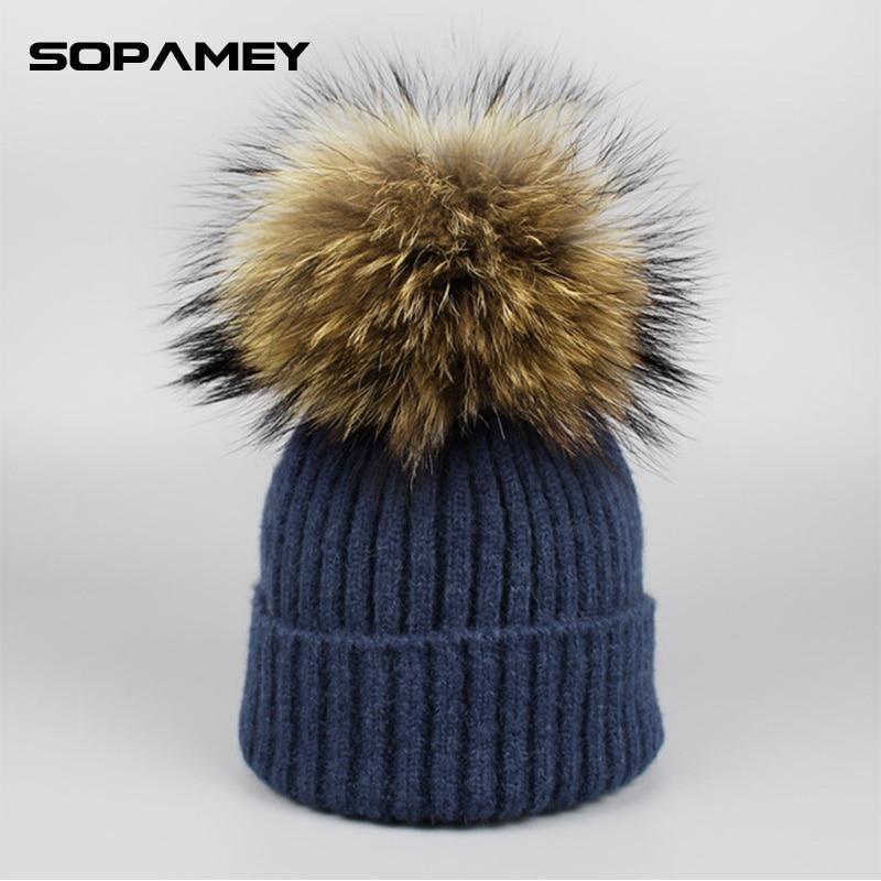 купить 2017 Girl Pom Pom Beanie Warm Knitted Bobble Kids Fur Pompom Hats Children Real Raccoon Fur Pompon Winter Hat Cap Brand Bone дешево