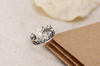 925 Sterling Silver Imperial Crown Open Rings For Women 1
