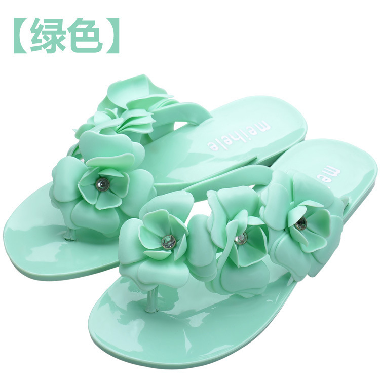 2016 New Summer Hot Women Sandals With Beautiful Camellia Flower Sweet Flip Flops XWZ455 new summer