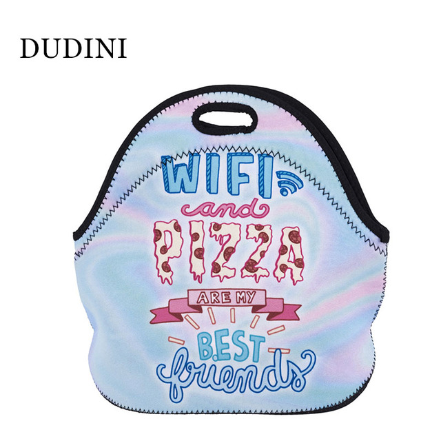 DUDINI Letter Printing Pattern Lunch Bag Polyester Material Carry Lunch Bags Women Hand-Held Portable Insulation Picnic Bag
