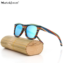 [Marte&Joven] Colourful Stripe Handmade Wooden Frame Wayfare Polarized Sunglasses Women Men Tinted Driving Glasses with Gift Box