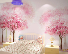 beibehang Custom wallpaper childrens room girl pink tree bedroom bedside mural cartoon 3d