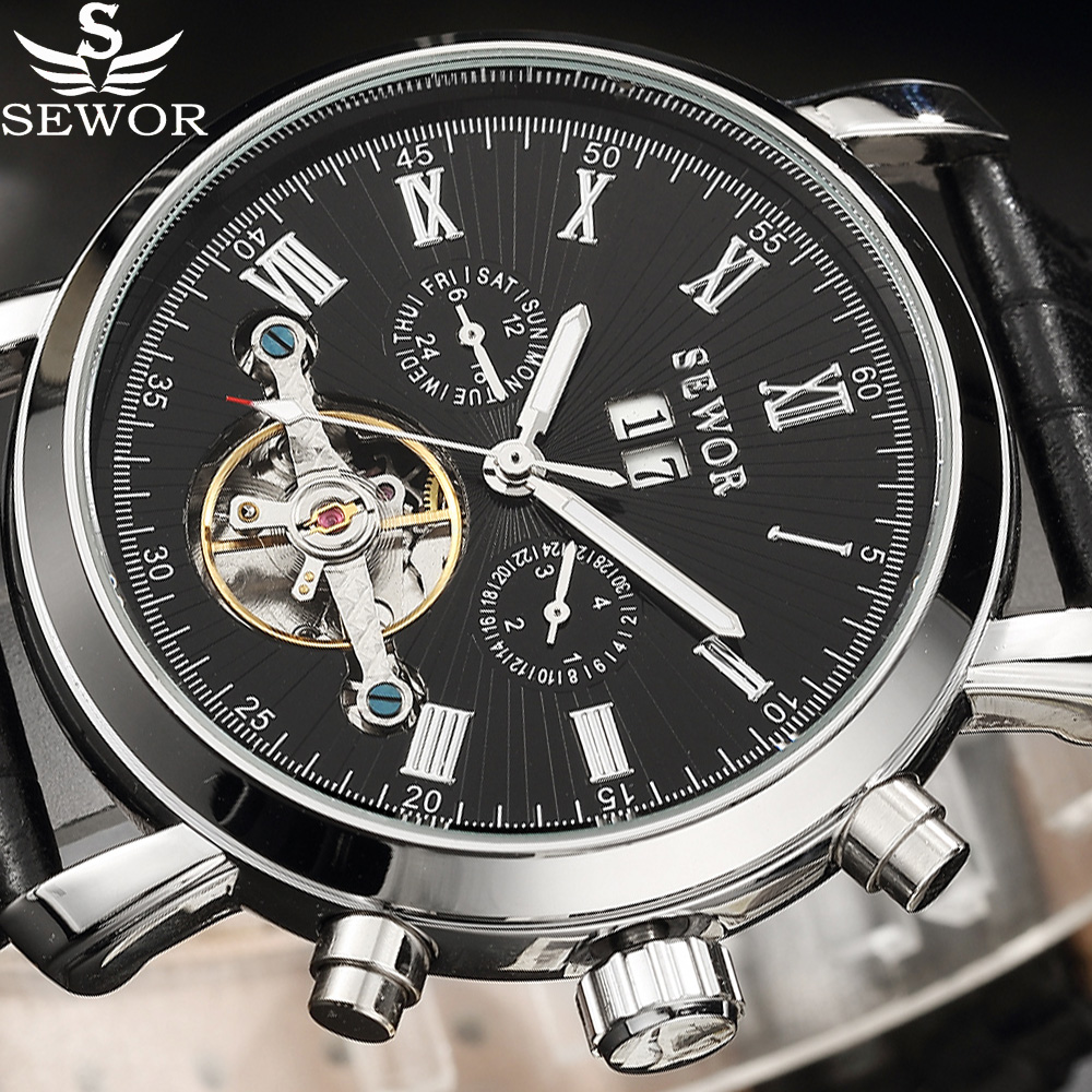 Automatic Mechanical Watch SEWOR Tourbillion Black Silver Leather Business Vintage Auto Date Men Watch Top Brand Male Wristwatch