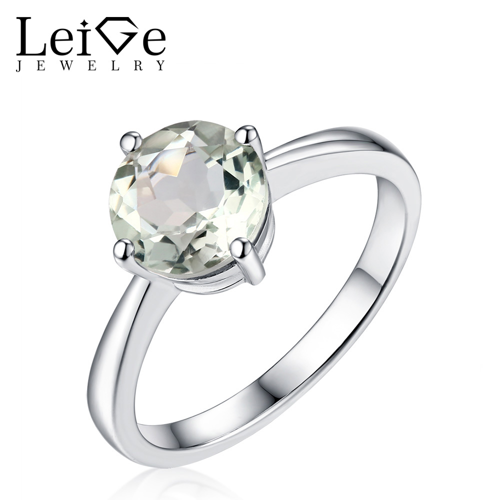 Leige Jewelry Round Cut Green Amethyst Ring Solitaire Gemstone Silver 925 Rings for Women Wedding Anniversary Gift leige jewelry solitaire ring natural green amethyst ring round cut wedding ring gemstone 925 sterling silver ring gift for women