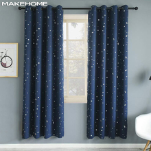 Hot Stamping Star Window Curtains for Kids Bedroom Blackout Curtains for Living Room Kitchen Shiny Star Voile Tulle Drapes cheap MAKEHOME High Shading(70 -90 ) Left and Right Biparting Open Polyester Cotton Rope Included Office hotel hospital Cafe