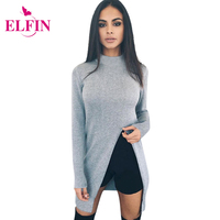 Fashion Sweater Women Long Sleeve Top Knitted Sweaters Pullovers High Split Hem Casual Knitwear Solid Women