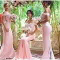Sexy Fuera Del Hombro de Novia Sin Espalda Largo Sirena Vestidos de Noche Apliques 2016 Mujeres de Color Rosa Vestido Del Desfile Del Vestido vestido de festa