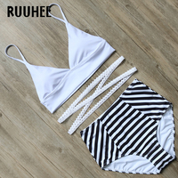 RUUHEE Bikini Swimwear Women Swimsuit High Waist Bikini Set 2017 Bathing Suit Beach Biquini Striped Swimming