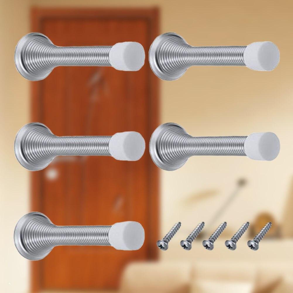 10 Pcs Met Base Praktische Wall Mount Deurstopper Metal Home Rubber Cap Board Gemakkelijk Installeren Beschermende Voorjaar Plint Flexibele Elegant En Sierlijk