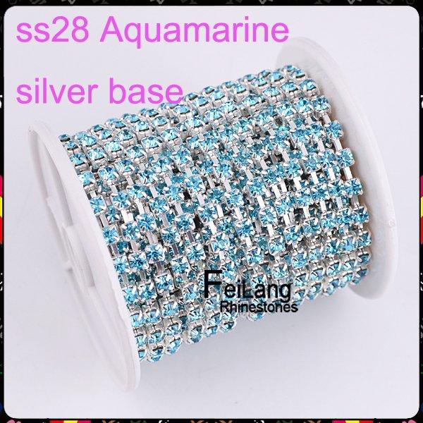 F660614 Crystal chain Rhinestone cup chain CPAM FREE SS28 Aquamarine stone silver base MOQ 10yard/roll sparse claw