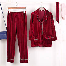 Модные весенние женские из бархата с длинными рукавами Домашняя одежда футболка + штаны пижамы Пижамный костюм отложной пижамы с