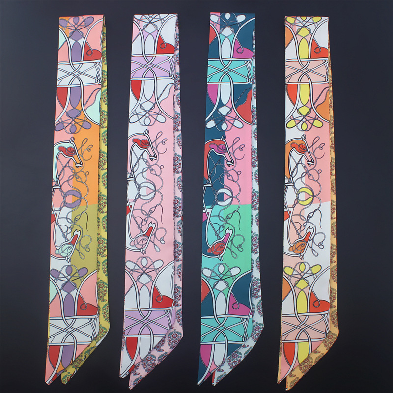Luxury Brand Design Silk Scarves Women Fashion Chain Print Long Skinny Scarfs Lady Handle Bad Ribbon Office Neckerchief Wraps