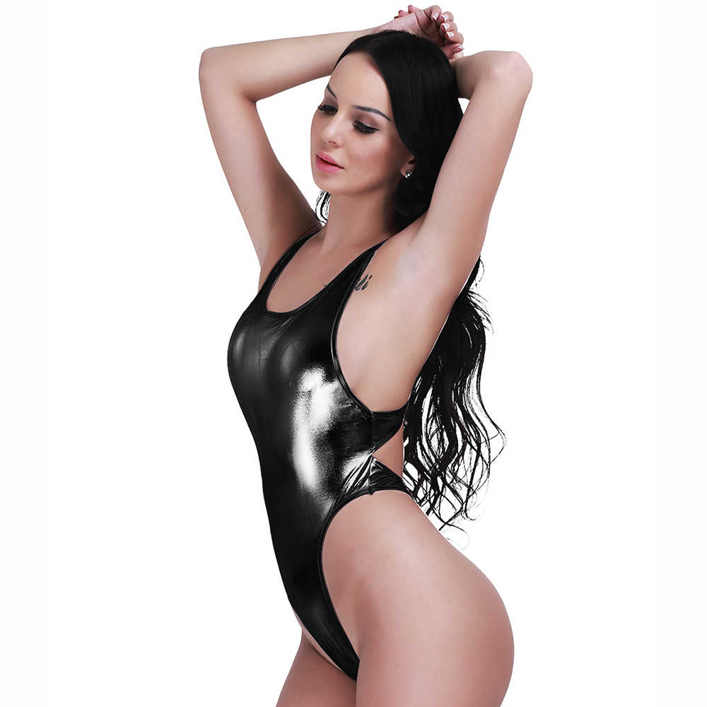 28193e388be ... Sexy Women Faux Leather One-piece Thong Bodysuit Leotard Lingerie  String Swimsuit Body Suit Bodystocking ...