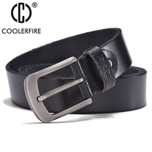 Mens belt genuine leather top full grain with pin buckle high quality cow strap JTC005