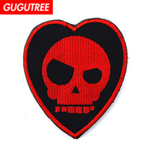 GUGUTREE embroidery HOOK&LOOP love heart Patch skull patches badges applique for clothing AD-401