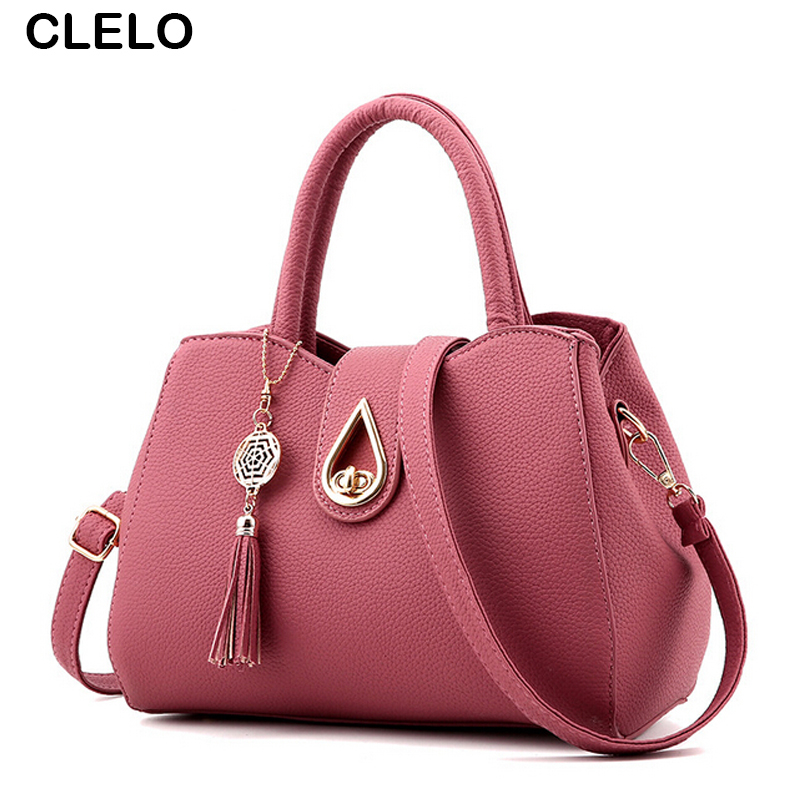 CLELO Women Bag Female Black Handbag Designer Solid PU Shoulder Bag Casual Crossbody Messenger Bags Ladies Satchel Tote women messenger bag solid tassel vintage handbag pu leather for teenage girls shoulder crossbody bags black female 2017 xa1125h