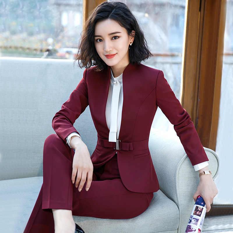2018 Formal Elegant women s business Blazers trouser suits office sets  business ladies plus size formal Jacket ed053bc1c431