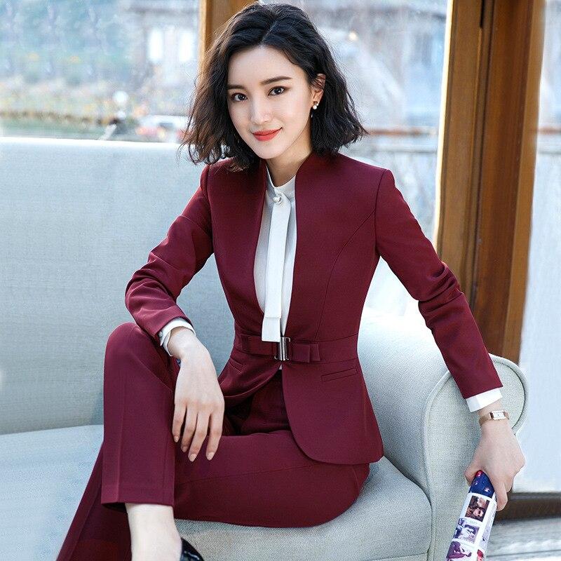 9adf6c88d23a8f 2018 das mulheres Formais Elegantes Blazers negócios calças calças Jaqueta  conjuntos de ternos escritório de negócios ladies plus size formal ...