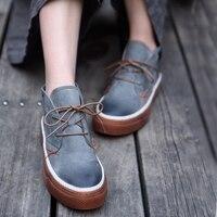 Artmu/оригинальная женская обувь с высоким голенищем, новая обувь ручной работы на толстой подошве из натуральной кожи, повседневная обувь в К