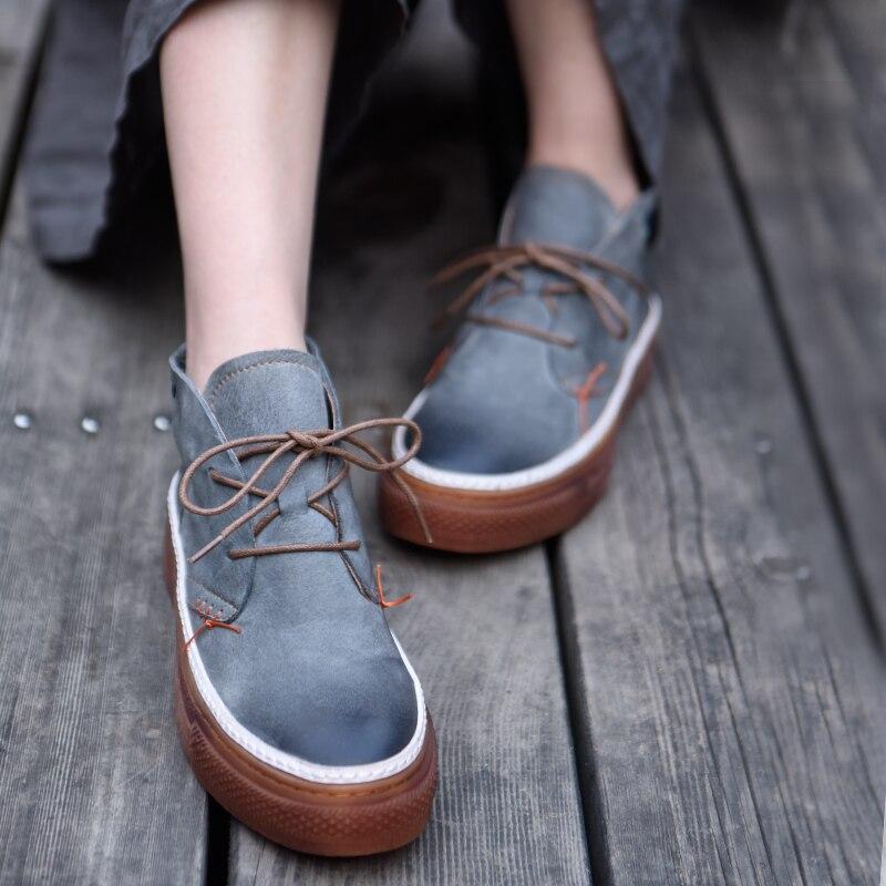 Artmu 원래 높은 샤프트 여성 신발 새로운 두꺼운 유일한 정품 가죽 손수 신발 한국어 스타일 캐주얼 신발 389 108-에서여성용 플랫부터 신발 의  그룹 1