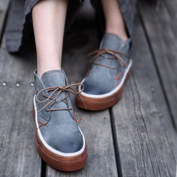 Artmu Original High Shaft Women Shoes New Thick Sole Genuine Leather Handmade Shoes Korean Style Casual Shoes 389-108