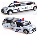 Gift for baby 1pc 17.5cm delicate longer MINI cooper police simulation Acousto-optic model alloy car pull back home decoration b