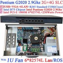 B75 Чипсет Dual Core Брандмауэр Сервер с Intel Pentium G2020 2.9 Г 6*1000 М 82583 В Lan Wayos PFSense ROS