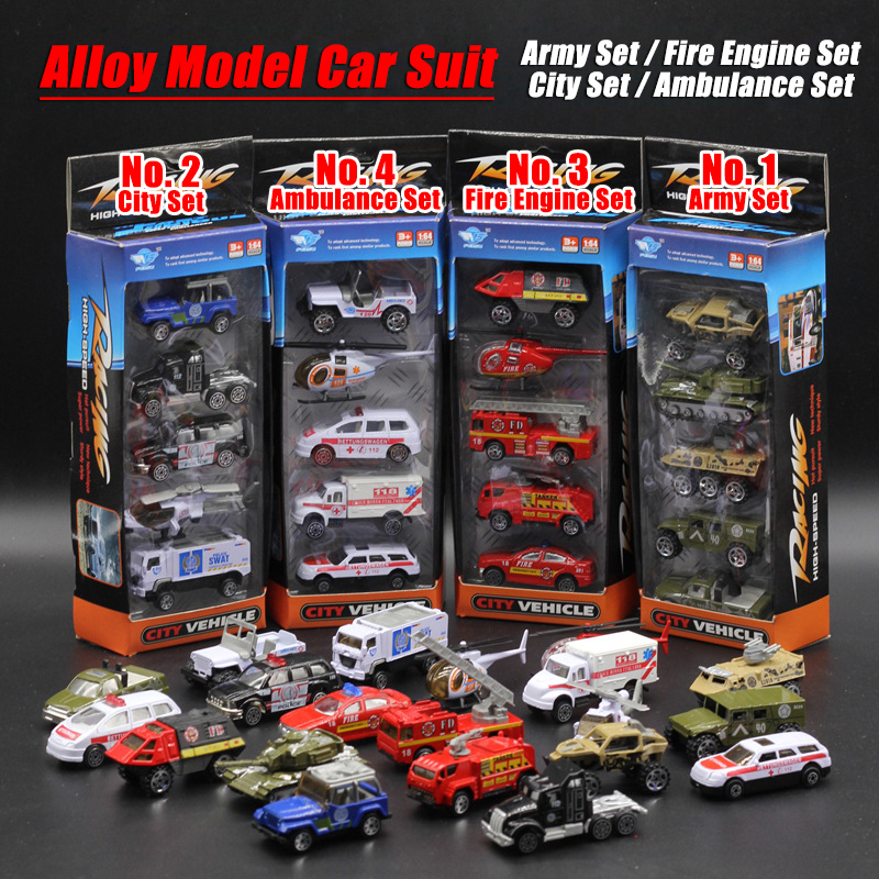 5PCS/Set 1:64 Diecasts Alloy Model Car Suit Army City Fire Engine Boy Toy Car Hot Wheels Cars Machines Kids Toys for Children