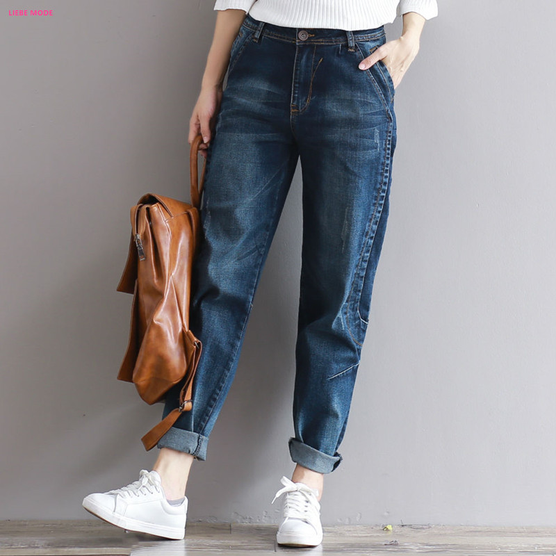 2017 Spring Summer Women Spliced Harem Jeans Female Vinatge Loose Fit Jeans With High Waist Stretch Denim Pants Plus Size XXXL loose stretch harem jeans with elastic waist woman elasticity harem jeans trousers for women pants large size